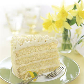 Lemon Layer Cake with Lemon Curd and Mascarpone.