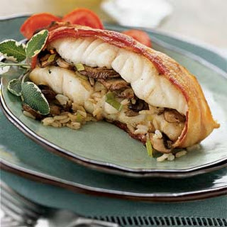 Roasted Mushroom-Stuffed Striped Bass