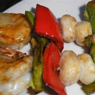 Scallop and Shrimp Kabobs.