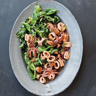 Stir-Fried Calamari and Pea Shoots