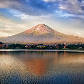 Mount Fuji in Summer by Lenny Sharp - Landscapes Mountains & Hills ( mountains, japan, fuji, lake, kawaguchiko )