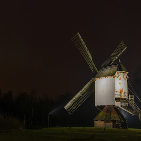 Shine a light on me! by Gerd Moors - Buildings & Architecture Public & Historical ( lights, beams, dark, long exposure, landscape, historic, windmill,  )