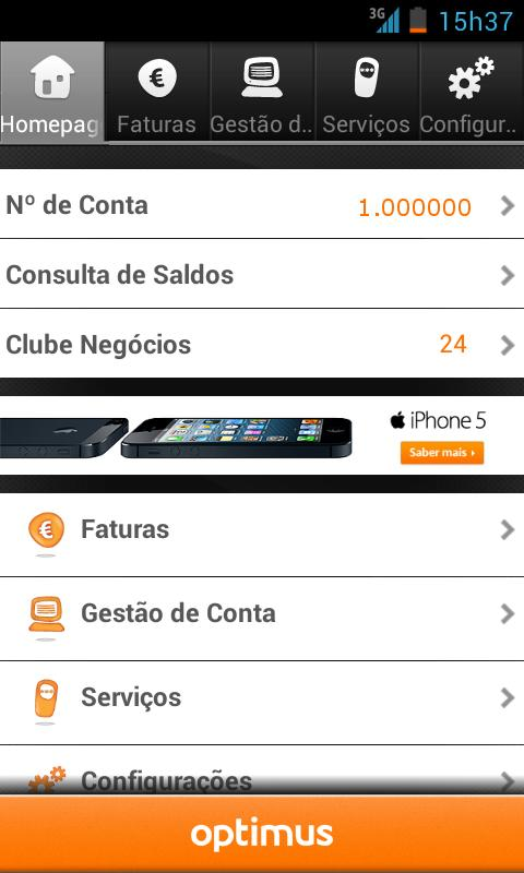 Cliente Optimus - screenshot
