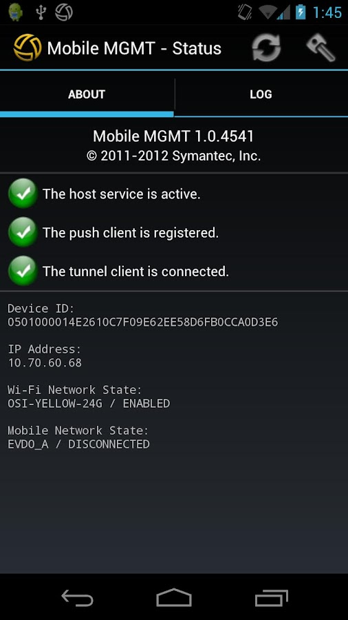 Symantec Mobile Management - screenshot