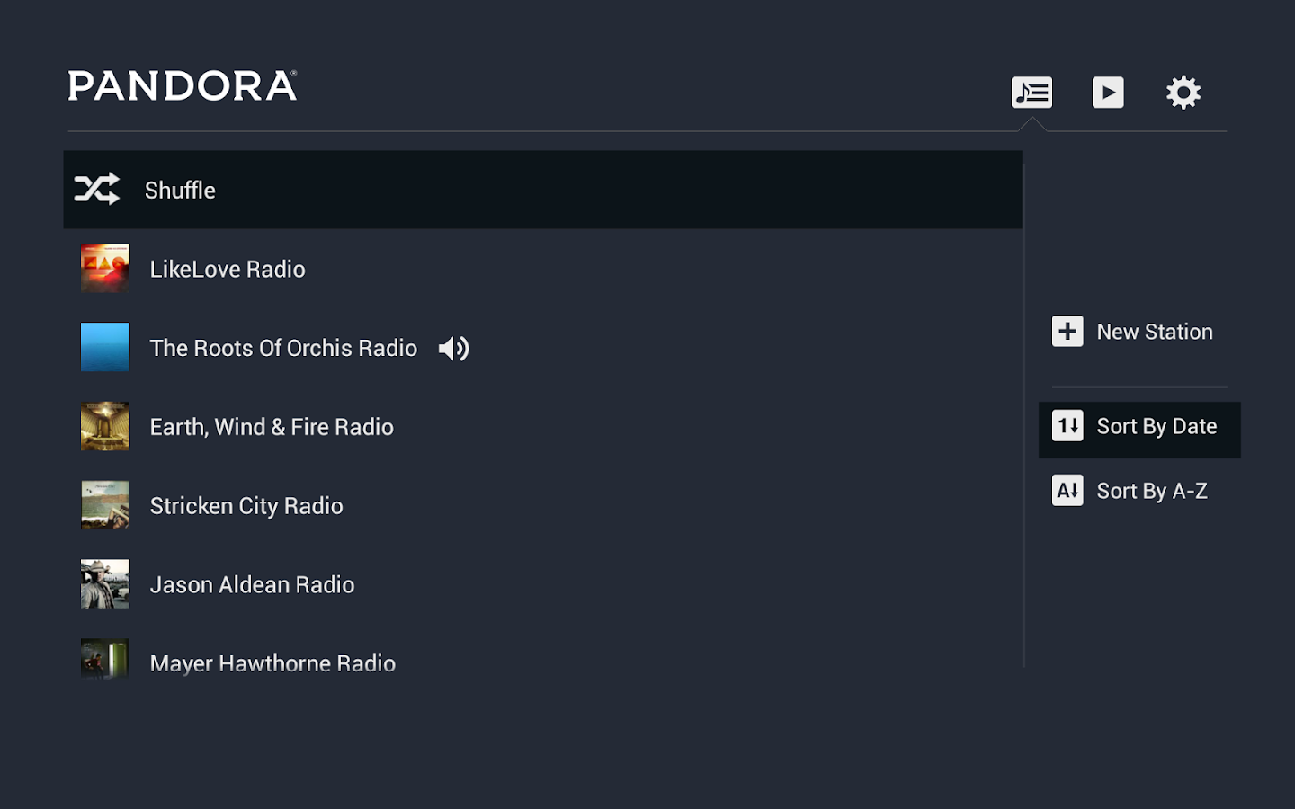 Pandora® Radio for Google TV- screenshot