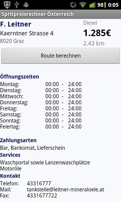 Spritpreisrechner Österreich- screenshot
