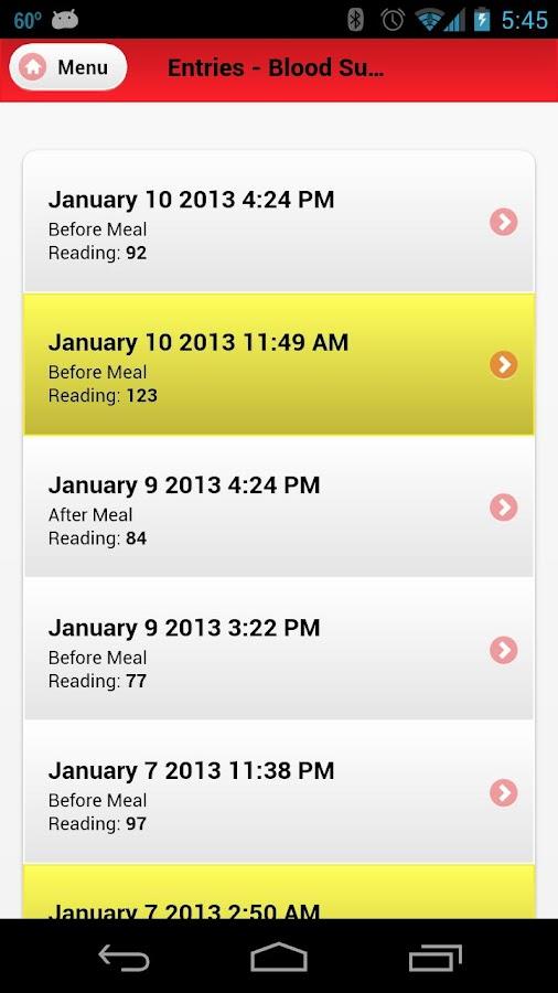 Blood Sugar Tracker - screenshot