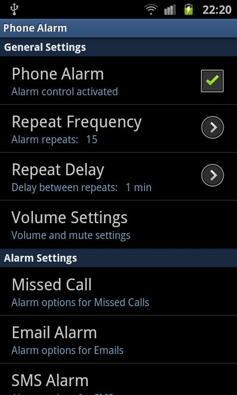 phoneAlarm- screenshot