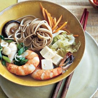 Soba Soup with Chicken, Shrimp, and Vegetables.