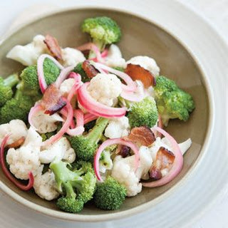 Broccoli and Cauliflower Salad with Pickled Onions and Bacon