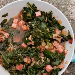 Collard Greens With Ham And Bacon.