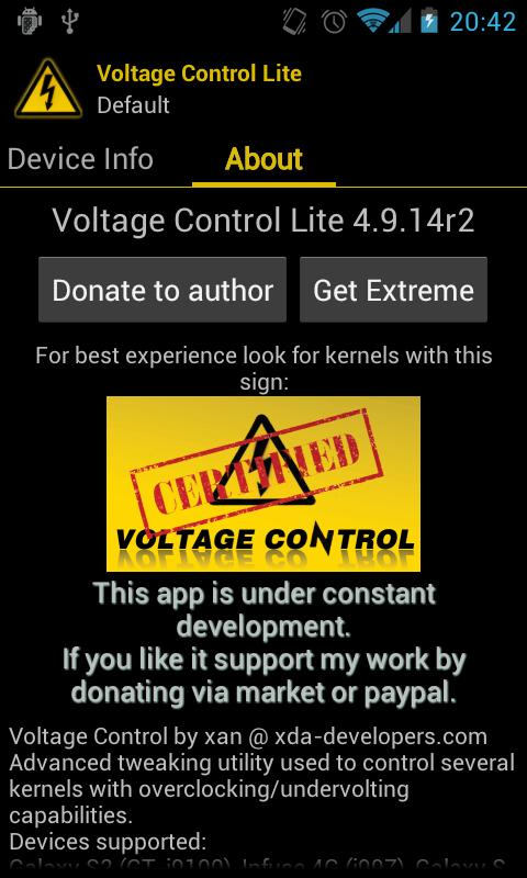 Voltage Control - screenshot