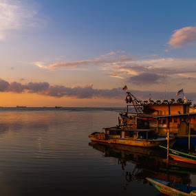 Mooring by Ted Khiong Liew - Landscapes Sunsets & Sunrises ( #sunsets #fishing boat #sea )