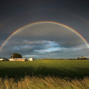 Cyclone Marcia rainbow by Craig Mc P - Landscapes Weather ( field, queensland, cyclone, ipswich, rainbow )