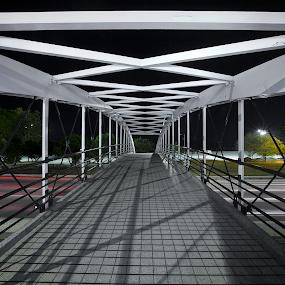 North Ave Bridge  by John CHIMON - Buildings & Architecture Bridges & Suspended Structures ( nightshots, chicagolsd nightshot, illinois, chicagobeach, lakeshoredrive, nightphotography, usa, modernbridge, lights, nightlight, windycity, chicagobridge, northavebridge, nightlights, lsd, chicago, bridges, light, northave, lsdchicago, chitown, steelbridge, pedestrianbridge, beachbridge, night, bridge, longexposure )