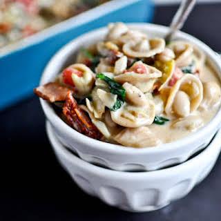 Creamy Tuscan White Bean Pasta.