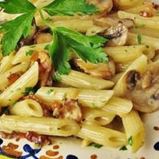 Penne with Pancetta and Mushrooms.