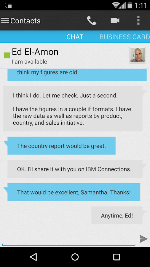 IBM Connections Chat- screenshot