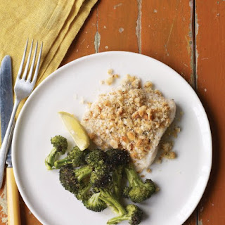 Baked Fish with Herbed Breadcrumbs and Broccoli.