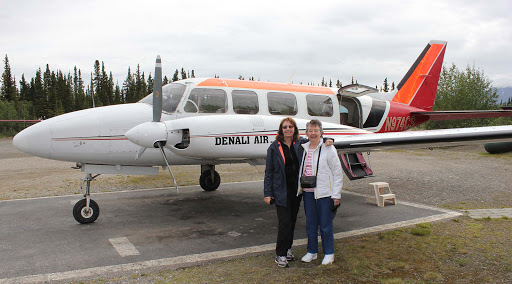 Denali-Air - Mom and I rode on a Denali Air turboprop as we scooted around scenic Denali National Park and Preserve. The only way you're guaranteed to see Mt. McKinley (or Mt. Denali, that's what Alaskans call it). At 20,000 feet, it's the tallest peak in North America, and it's usually covered by clouds.