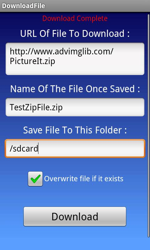 DownloadFile - screenshot