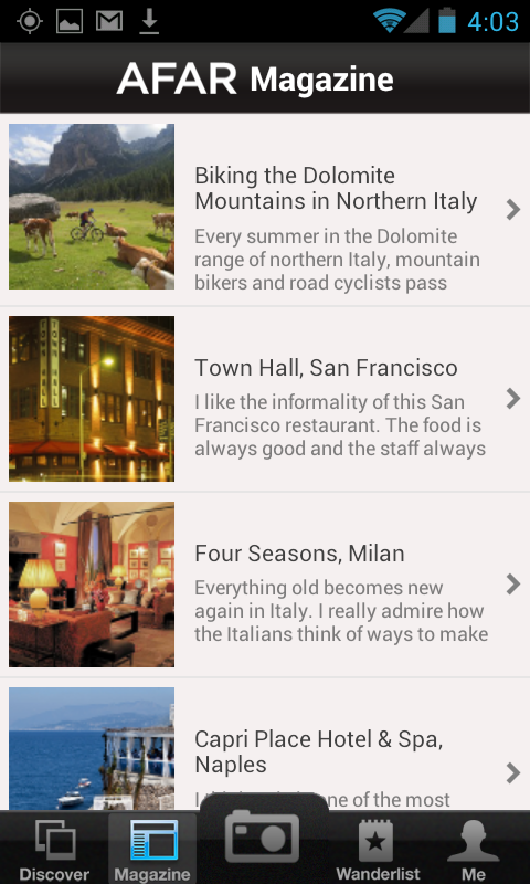 AFAR Mobile App- screenshot