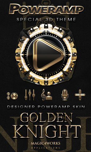 Poweramp skin Golden Knight