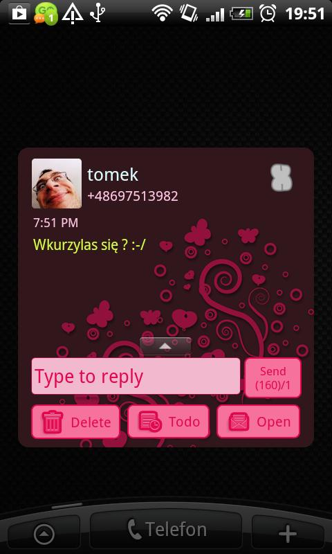 GO SMS Pro Emo Skull Theme - screenshot