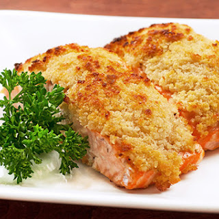 Horseradish and Crumb Crusted Salmon.