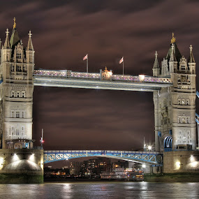 Tower Bridge by Guy Longtin - Buildings & Architecture Bridges & Suspended Structures ( tourist, uk, england, london, tower bridge, bridge, city at night, street at night, park at night, nightlife, night life, nighttime in the city )