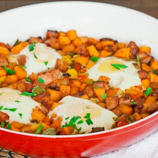Sweet Potato Hash with Eggs.