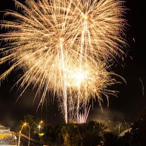 Fireworks by Daniel MV - Abstract Fire & Fireworks ( fireworks, night, light, rain, black )