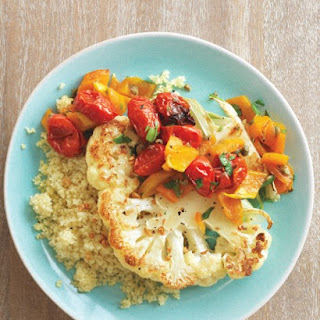 Cauliflower Steaks with Roasted Pepper and Tomato Salad.