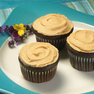Chocolate Cinnamon Cupcakes With Peanut Butter Cinnamon Frosting.