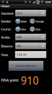 FINApoi:FINA point calculator - screenshot thumbnail