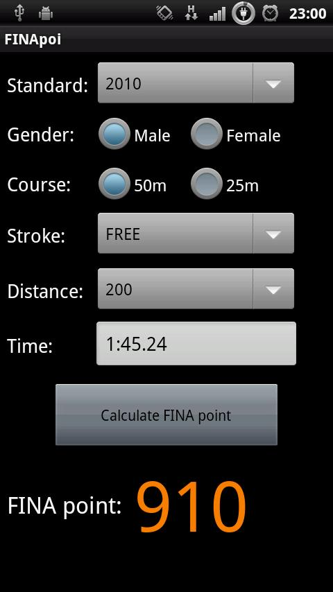 FINApoi:FINA point calculator - screenshot