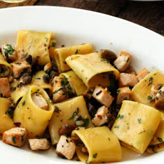 Paccheri Pasta With Swordfish, Olives, Capers And Mint.
