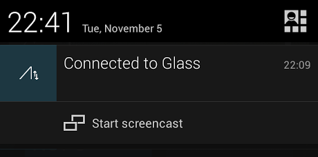 The Glass notification and screencast shortcut from an Android notification drawer.