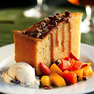 Rum Cake with Rum Raisin Ice Cream and Island Fruit.