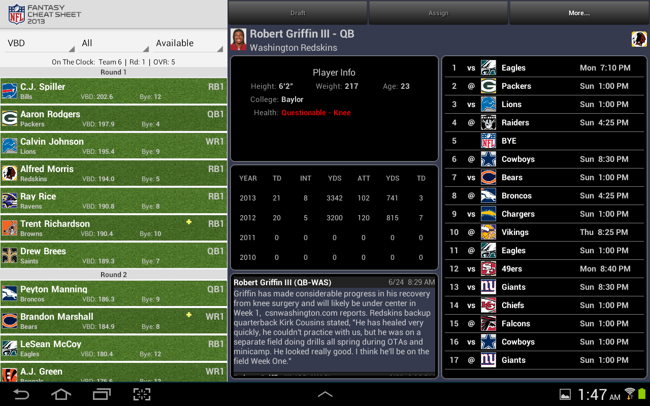 NFL Fantasy Cheat Sheet HD - screenshot