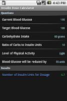 Screenshot of Insulin Dose Calculator