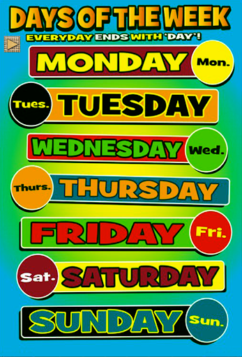 Days Of Week For Kids