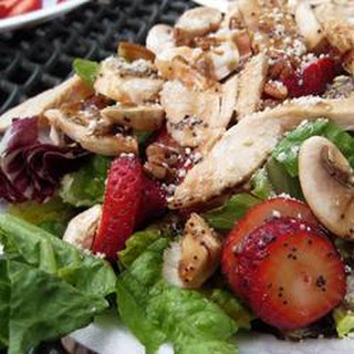 Strawberries and Mixed Greens with Poppy Seed Vinaigrette.