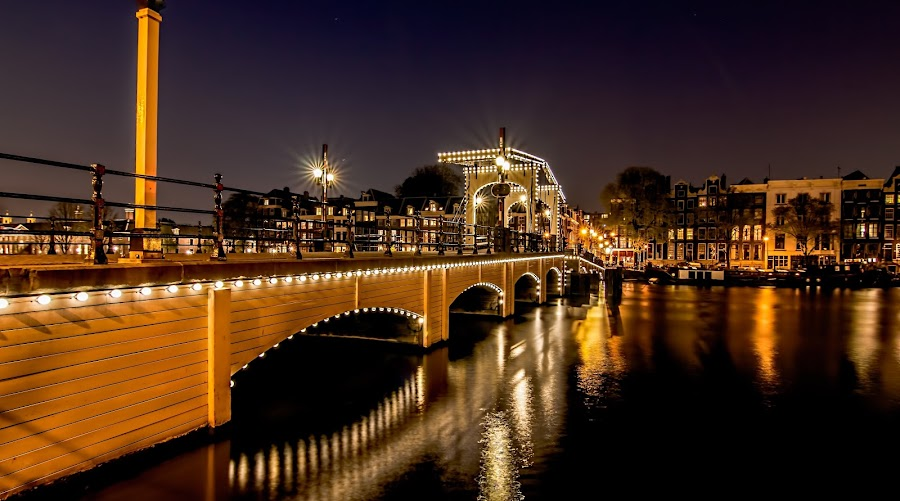 Amsterdam by Night - 'Magere Brug' by Marcel de Groot - City,  Street & Park  Night ( lights, night photography, colors, magere brug, amsterdam, bridge, city, night,  )