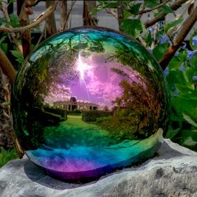 Garden Reflection by Sharon Horn - Artistic Objects Glass ( colored ball, ball, reflection, gazing ball, garden ornament, reflection ball )
