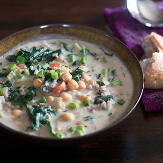 Chickpea & Rice Soup With A Little Kale.