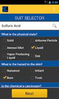 Screenshot of HazMatch Chemical Suit Guide