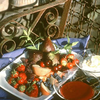 Fresh Fruit with Ricotta and Plum Sauce.