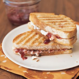 Breakfast Panini with Almond Butter and Plum Preserves.