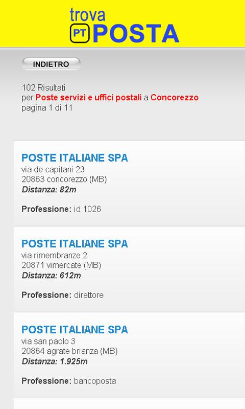 Trova Uffici Postali - screenshot